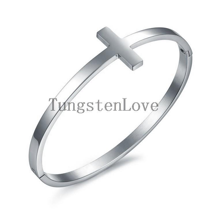 Bracelets & Bangles New Stainless Steel Silver Tone Christian Cross Bangle Bracelet for Women Girls Ladies Birthday Gift(China (Mainland))