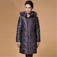 Xxxxxl Plus Size Women Real Raccoon Fur Hood Quinquagenarian Coat Jacket New 2015 Ladies Down & Parkas Mother Clothing Outwear