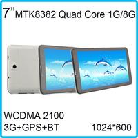 WCDMA 2100MHz Bluetooth 1GB RAM 8G ROM Quad core 3G Tablet Phone 1024*600 MTK8382 1GB/8GB 1024*600 Android 4.2 7 inch gsm mid