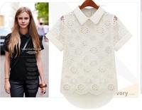 New 2015 Hot Sale Fashion Women Chiffon Blouses Short Sleeve Lapels ladies Tops Summer Casual Shirt White Lace Women Clothing