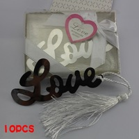 10Pcs  Boxed Love  Letter  Metal Bookmarks With White Tassel For Baby Shower Christening Wedding Favour  Studens School Party