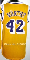 Free Shipping! #42 James Worthy retro throwback jersey Embroidered logo( all name, numbers stitched )