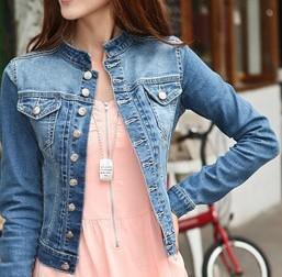 Бесплатная доставка XXL Быстрая доставка Весна и осень с длинным рукавом джинсовой ...
