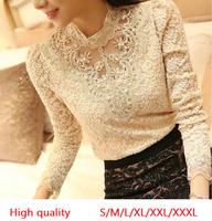 2014 New Women Crochet Blouse Lace Chiffon Shirt Women Clothing Basic Shirts Vintage Blusas Femininas Blouses Plus size S-XXXL