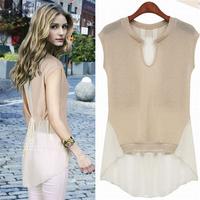 2014 summer fashion color block decoration short-sleeve chiffon patchwork top female medium-long short-sleeve chiffon shirt