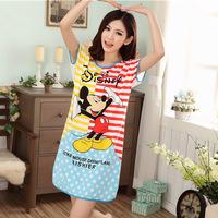 2104 new summer milk silk girl sleepshirt / women sleepwear lovely mickey girl nightgown nightdress women pajamas Free shipping