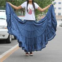 Long Skirts Womens 2015 Fashion Candy Colors Plus size Cotton Falda Female Casual Beach Bohemia Ruffles Big Pendulum Maxi Skirt