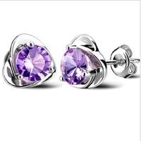 E248  S925 pure silver stud earring female heart earrings fashion earrings 2014 sterling silver