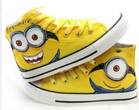 Newest Despicable Me Minions Style Canvas Shoes Mens Men Sneakers Brand 2014 High Hand-painted Shoes Size 35-45 Free Shipping