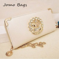 2014 new hot selling popular fashion Long design purses color block diamond wallet zipper day clutch  mobile phone bag z1049