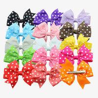 summer 2014 new fashion baby girl dot  ribbon bow hair clips, kids hair bow clips hairpins girl hair accessories