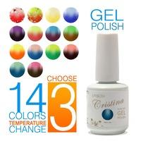 (Choose 3 Colors) Cristina Fashion 2014 New 14 Color Temperature Change UV Gel Polish 15ml 0.5oz Nail Gel for Nail Free Shipping