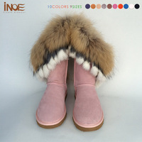 2014 Nature Rabbit Fox fur fashion snow boots for women real cow genuine leather boot for lady winter shoes print high quality