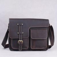 Vintage Bag business Crazy Horse men messenger bags leisure shoulder genuine leather messenger men bag travel bag briefcase 2014