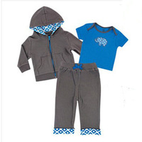 3pcs/lot Newborn Baby Clothes Baby Character Clothes Sets Baby Suit Hoody+Short Sleeve Shirt or Romper+Pants For Autumn