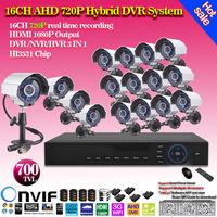 HDMI 16ch AHD 720P DVR Kit CCTV System 16pcs 700TVL Waterproof IR outdoor Cameras 16ch Security Camera system 16x20m cctv cables
