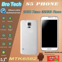 "Real Fingerprint HDC SV S5 I9600 Phone 32GB ROM 2GB RAM MTK6582 MTK6592 Octa Core Smart Mobile Phone 5.1"" 1920*1080 16MP"