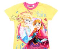 Tops Frozen Princess Girls Fashion Shirt Print Blue Hooded Tees Anna And Elsa Short Sleeve Children T-shirts Free Shipping DA125