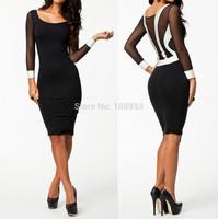New 2014 Vestidos Women Contrast Color Winter Long Sleeve Bodycon Dress Women Elegant Office Dress Autumn Black Casual Dress