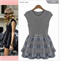 2014 one-piece dress lace knitted organza patchwork elastic puff