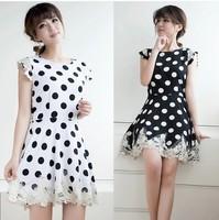 2014 women's lace patchwork slim chiffon sleeveless one-piece dress elegant basic D16