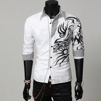2014 Spring Fashion New Long Sleeve Dragon Print Shirts Men,Quality Boys Outerwear Shirts,Outdoor Cotton Shirt Plus Size XXXL