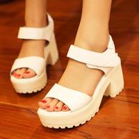2014 women's shoes platform thick heel sandals female high-heeled platform shoes genuine leather platform open toe shoe