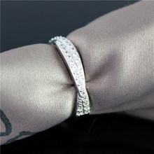 50 off Flower Crystal Ring Silver Plated Love Rhinestone Wedding Rings for Women Anel Pedra Preta
