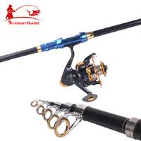 2014 New ! Brand KJ24-36 Carbon Spinning Telescopic Folding Carp Fly Fishing Pole Stick Bait Casting Rod Sea Boat Fishing Rods