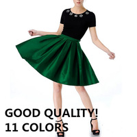 11 Colors New 2014 Summer Spring Neon Green Vintage High Waist Bright Flare Pleated Midi Skirts Swing Skirt Female Women M7008