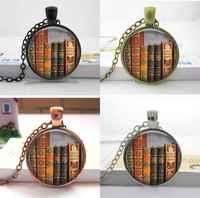 Wholesale Glass Dome Necklace,photo glass cabochon, Vintage books pendant necklace , Book lover pendant , Books jewelry