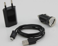 1 set 3 in 1 home wall trave car charger micro USB cable for Samsung Galaxy S2 S3 S4 note  Nexus S black  #ZH61