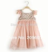 5pieces/lot , 2014 Summer Pink Toddlers Girls Sequin Dress Children Dresses, JYF