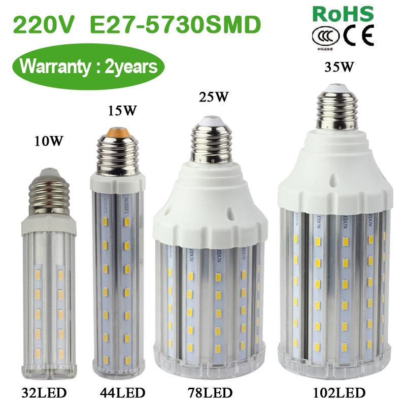 SMD 5730 E27 220V 6W / 8W / 10W LED corn bulb with transparent lamp cover Ultra bright Warm white/white light(China (Mainland))