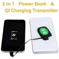 2014 New Arrival Rechargeable Battery and Qi Wireless Charger Transmitter 10000mAh Smartphone USB Power Bank Source