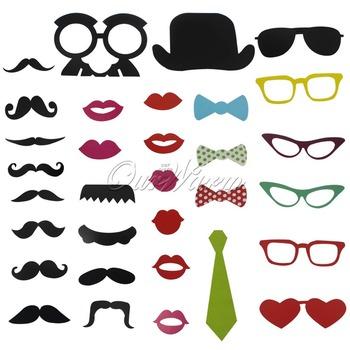 32 шт./лот из фото стенд реквизит свадьба день рождения ну вечеринку шляпа / усы / с бантом / очки / губы на палочке весело пользу