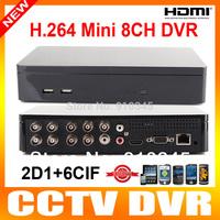 Mini 8Ch Network CCTV DVR Recorder System H.264 D1 Cloud P2P Standalone Mobile Phone View CCTV DVR 8 Channel HDMI Output