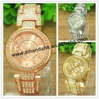 50pcs/lot,Women Rhinestone Geneva Watches Steel Shiny Metal Watches Fashion Lady Dress Wrist Watches Free Shipping