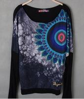 free shippingBat sleeve Beaded leisure long sleeved T-shirt for women