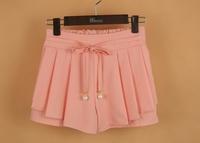 Girl chiffon double short skirt, chiffon skirts, wide set retro floral chiffon skirt, Package hip skirt