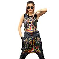 2014 Women's Spring Summer Iswag Sport suit 2 Piece Top And Pants Set anti-war print Sportswear Sweatshirt Set Women Hoodie