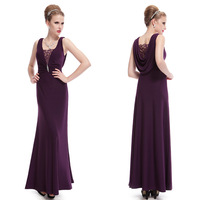 08006 Sexy Lacey Neck Diamond Ruched Purple Formal Evening Dress 2014