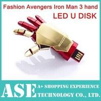 usb flash drive 64gb Avengers Iron Man3 hand LED Flash pen drive 32gb USB Flash usb 2.0 u disk Memory Drive Stick Pen/Thumb