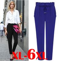 6xl 5xl 4xl 3xl plus size women pants clothing womans pants elastic waist summer trousers women big size new 2014 summer