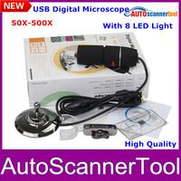 2014 Free Shipping 50X-500X 2.0MP USB Digital Microscope Digital USB Microscope With 8 LED Lighter