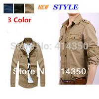 New Autumn Fashion Brand Men's clothing Tops,Plus Size,Casual Long-sleeve Lapel Army uniform Cotton Men Shirts