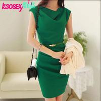 New 2014 Fashion Summer Women Office Dress Cowl Neck Sleeveless Draped High Waist Work Wear Green Chiffon Dresses With Belt