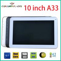 10 inch AllWinner A33 Quad Core Tablet Pc Dual Camera Wifi Bluetooth 1GB Ram Adroid4.4
