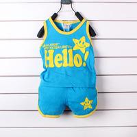 Baby Children clothing set, baby girls baby boys Vest + Pants undershirt Shorts new 2014 baby clothing brand sports clothing