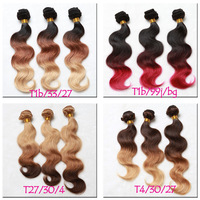cheap ombre brazilian body wave 3 ombre hair extensions,100%Virgin Human Hair Weaves 1B/Blonde Brown Burgundy Red 99J hair sale